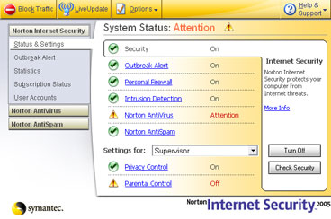 Norton Internet Security console