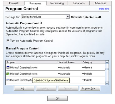Norton Internet Security Programs tab